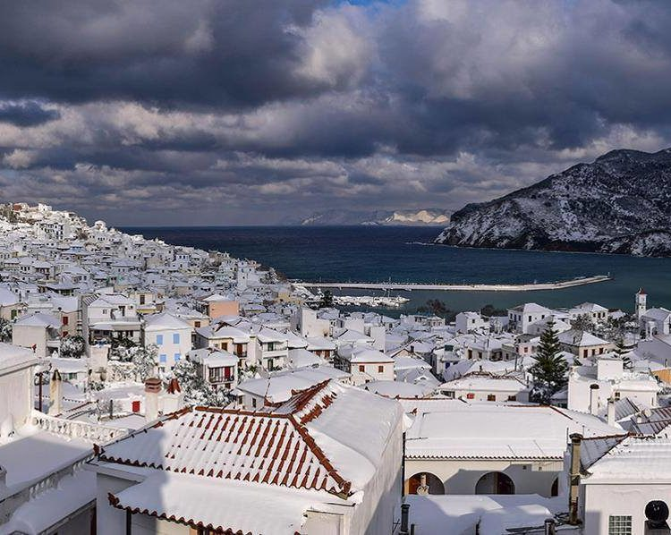 Snow Storm in Skopelos overview of town